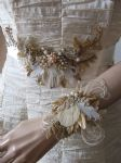"Gold Pheasant Peacock Feathers Bridal Sash in Vintage Lace + Veil ""Cia"" - Antique and Light Gold"
